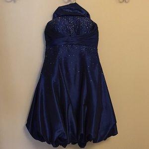 Dark blue beaded evening dress